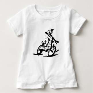 Simple Motorcross Bike and Rider Baby Romper