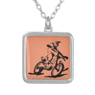 Simple Motorcross Bike and Rider Silver Plated Necklace
