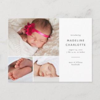 Simple Multi-Photo Birth Announcement Postcard