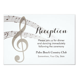 Simple Music Notes Musical Wedding Reception 3.5x5 Paper Invitation Card
