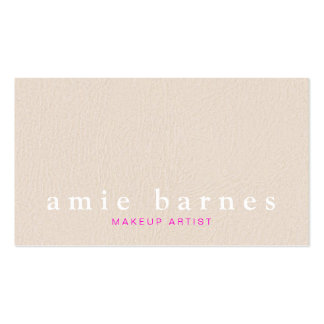 Simple Muted Pink Textured Leather Look Feminine Business Card Template