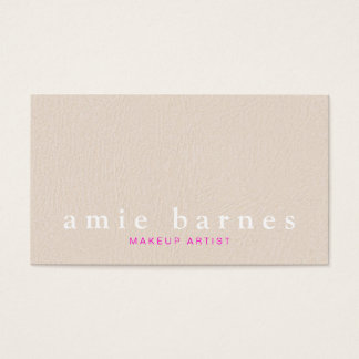 Simple Muted Pink Textured Leather Look Feminine Business Card