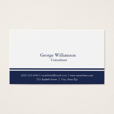 Wedding Themed Simple Nautical Navy Blue and White Business Card