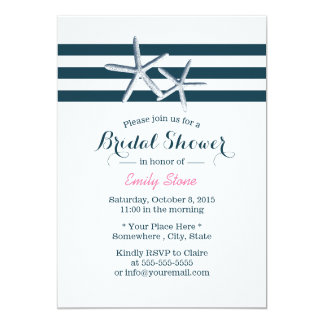 Simple Nautical Starfish Bridal Shower 5x7 Paper Invitation Card