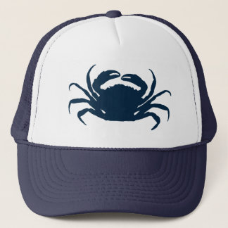 Simple Navi Blue Sea Crab Illustration Trucker Hat