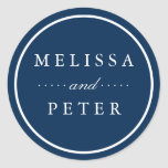 Simple Navy and White Wedding Classic Round Sticker