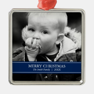 Simple Navy Blue and White Custom Photo Christmas Metal Ornament