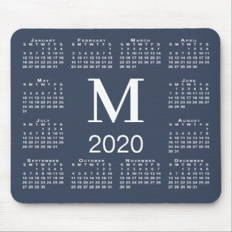 Simple Navy Blue and White Monogram 2020 Calendar Mouse Pad