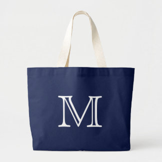 Simple Navy Blue and White Nautical Beach Monogram Large Tote Bag