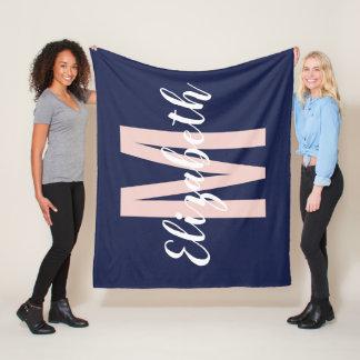 Simple Navy Blue Blush Pink Hand Script Monogram Fleece Blanket