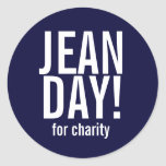 Simple Navy Blue Jean Day Stickers