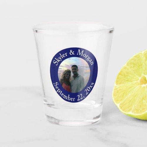 Simple Navy Blue Round Wedding Photo Shot Glass