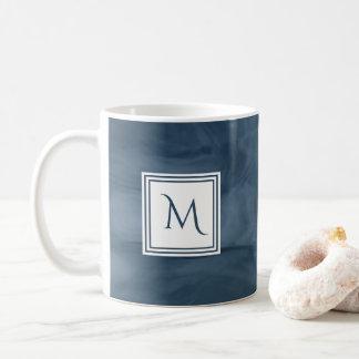 Simple Navy Blue Subtle Marble Modern Monogram Coffee Mug