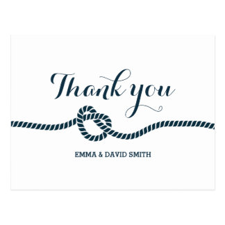 Simple Navy Blue Tying the Knot Thank You Postcard