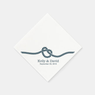 Simple Navy Blue Tying the Knot Wedding Standard Cocktail Napkin