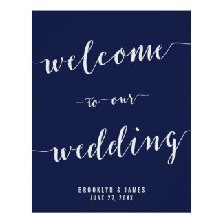 Simple Navy Blue Wedding Reception Sign 22x28 Poster