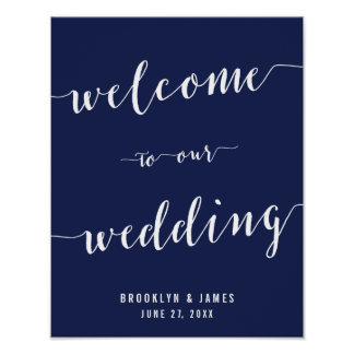 Simple Navy Blue Wedding Reception Sign Print