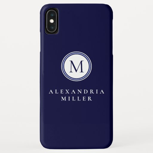 Simple Navy Blue & White Monogram Medallion | Name iPhone XS Max Case