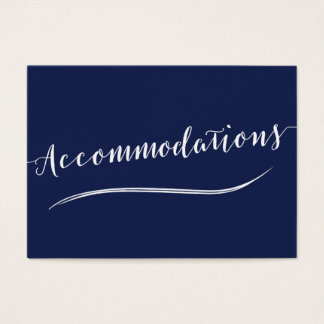 Simple Navy Blue White Wedding Accommodation Cards