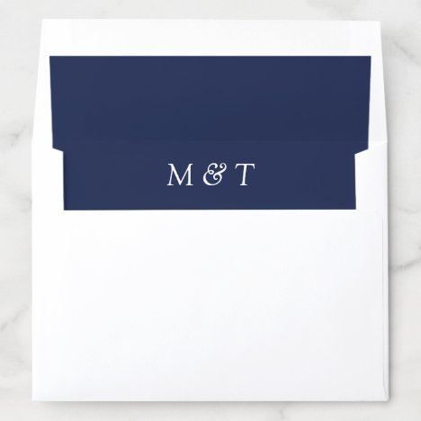 Simple Navy Blue with White Monograms Wedding Envelope Liner