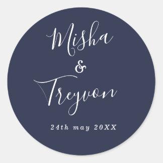 Simple Navy Typographic Wedding Favor Seal