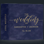 """Simple Navy Watercolor &amp; Gold Wedding Photo Album 3 Ring Binder<br><div class=""""desc"""">Simple Navy Watercolor &amp; Gold customizable Background color for any wedding color palette just click the customize further link to Change the background color! with fun faux gold foil wedding typography and modern script fonts. Simple and elegant Wedding Photo Album~ Check my shop to see the entire wedding collection with...</div>"""