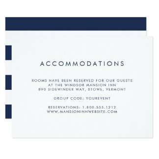 Simple Navy & White Hotel Accommodation Card