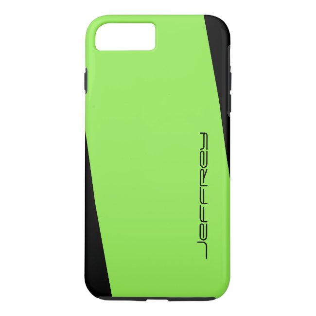 Simple Neon Green on Black One Stripe, Custom Name