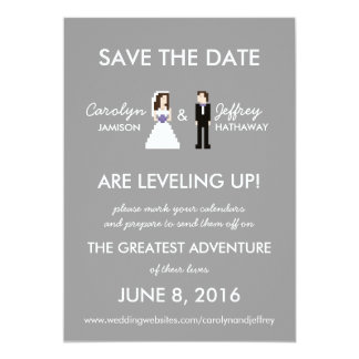 Simple, Nerdy 8-Bit Bride & Groom Save the Dates Card