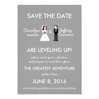 Simple, Nerdy 8-Bit Bride & Groom Save the Dates Card