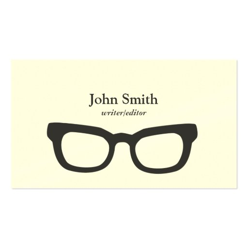Simple Nerdy Glasses Writer/Editor Business Card