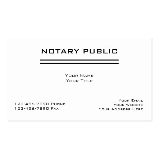 Simple notary business cards for Examples of notary public business cards