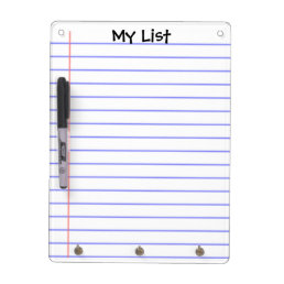 Simple notebook page lined dry erase board