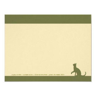 Simple Olive Green Cat Silhouette Note Cards