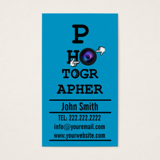 Simple Optometrist photographer Blue business card