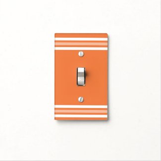 Simple Orange And White Stripes Light Switch Cover