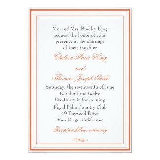 Simple Orange Border Wedding Invitation