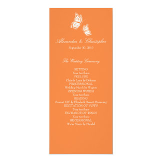 Simple Orange Butterflies Wedding Program