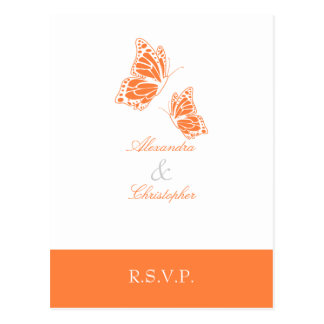 Simple Orange Butterfly RSVP 2 Postcard
