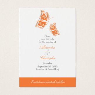 Simple Orange Butterfly Save The Date Wedding Mini Business Card