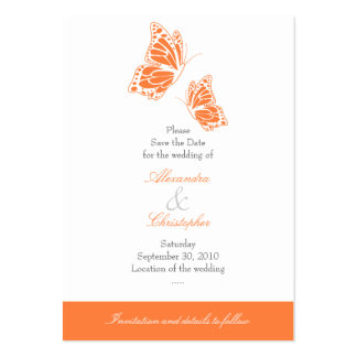 Simple Orange Butterfly Save The Date Wedding Mini Large Business Cards (Pack Of 100)