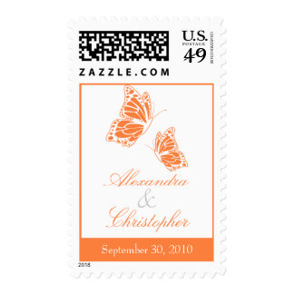 Simple Orange Butterfly Save The Date Wedding Postage Stamps