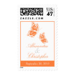 Simple Orange Butterfly Save The Date Wedding Stamp