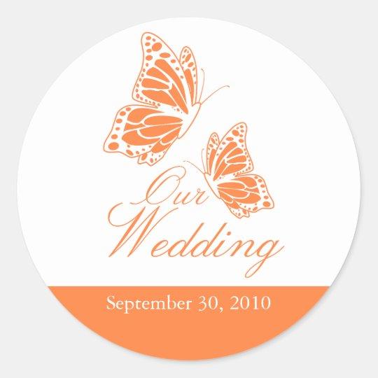 Simple Orange Butterfly Wedding Announcement Classic Round Sticker
