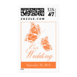 Simple Orange Butterfly Wedding Invitation Postage