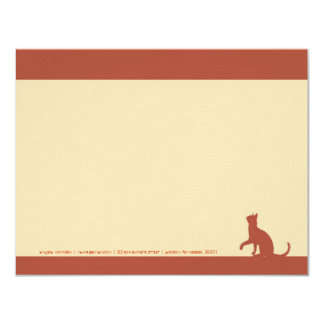 Simple Orange Cat Silhouette Note Cards