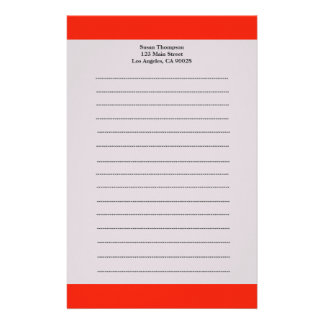 Simple Orange color Personalized Stationery