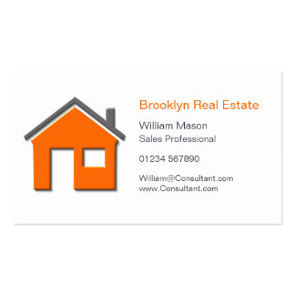 Simple Orange & Gray Home Icon Realtor Card Double-Sided Standard Business Cards (Pack Of 100)