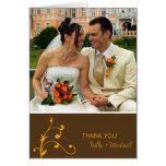 Simple orange sprig custom photo brown thank you cards