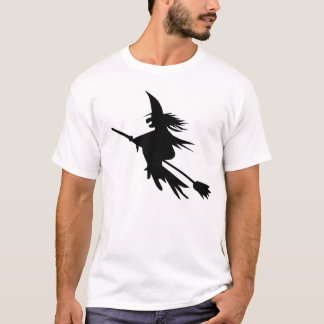 Simple Outline Flying Witch Halloween T-shirt